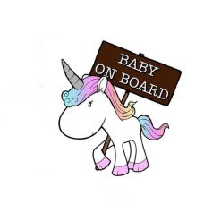 Unicorn bumpersticker Baby on board eenhoorn