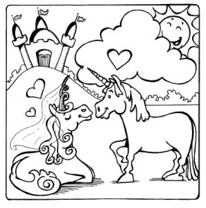 Gratis Kleurplaat van eenhoorn met harten en kasteel