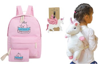 Unicorn Rugtassen, unicorn make up tasjes, unicorn bagagelabels