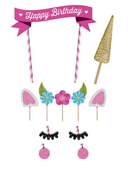 Unicorn taartversiering, set Happy Birthday unicorn