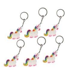 Eenhoorn sleutelhangers 6x