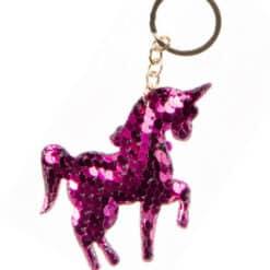 Eenhoorn sleutelhanger met roze pailletten