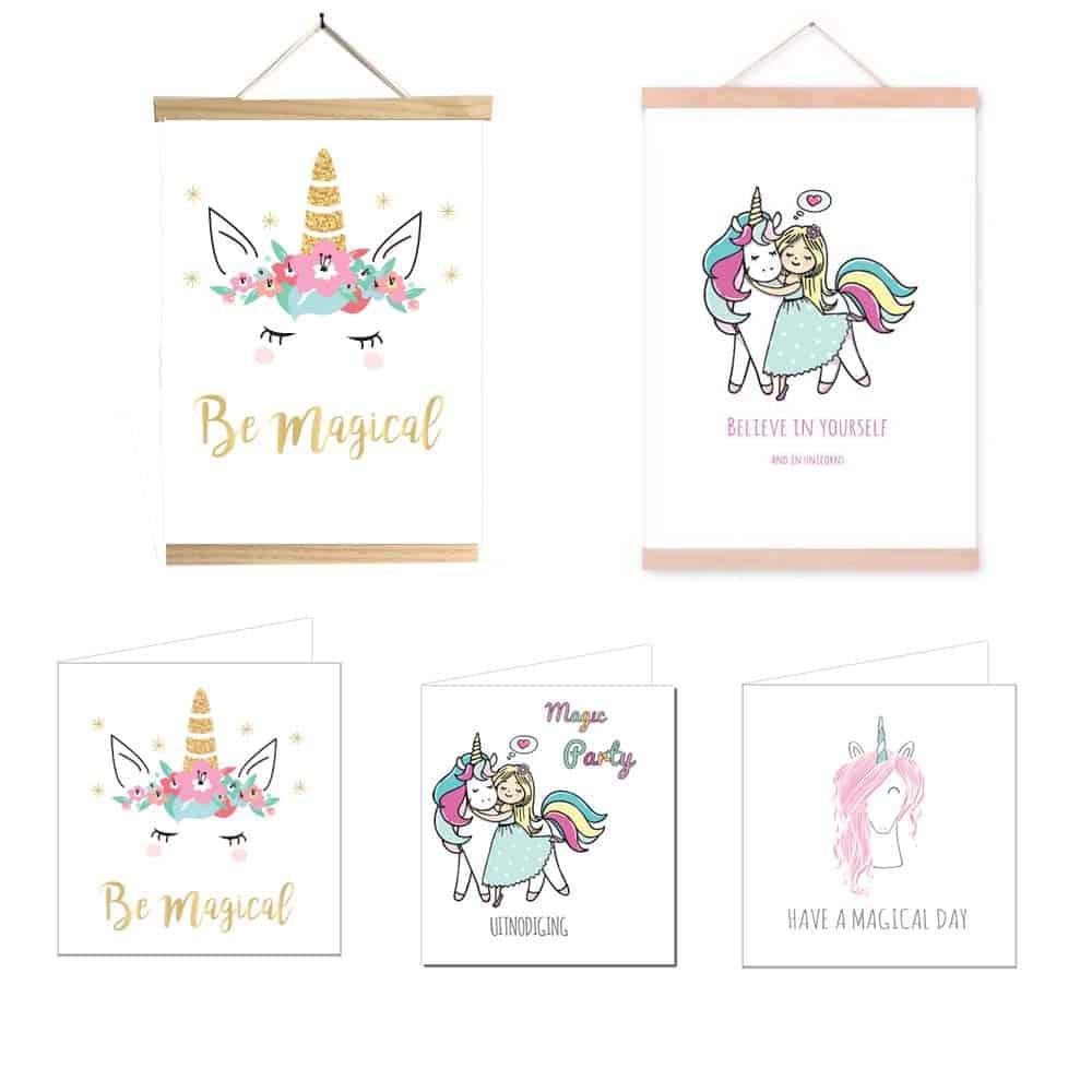 Eenhoorn posters en unicorn kaartjes