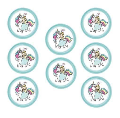 Eenhoorn stickers met prinses