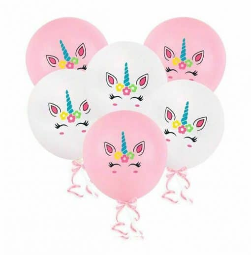 Eenhoorn ballonnen roze wit