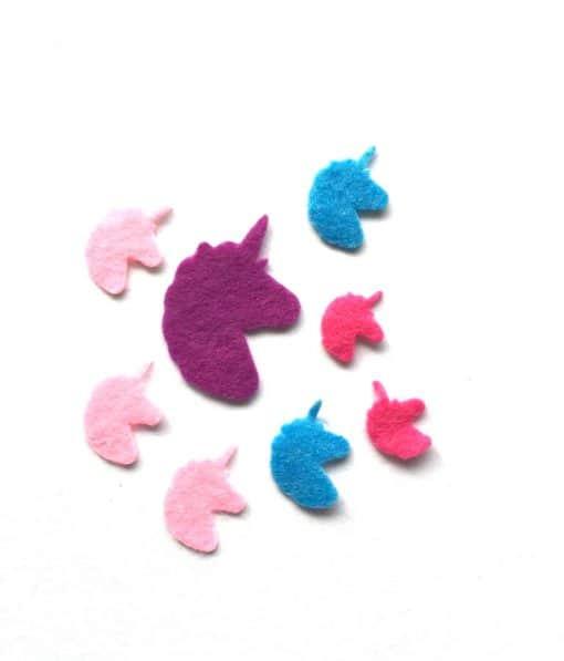 Eenhoorn stickers van vilt voor knutselen