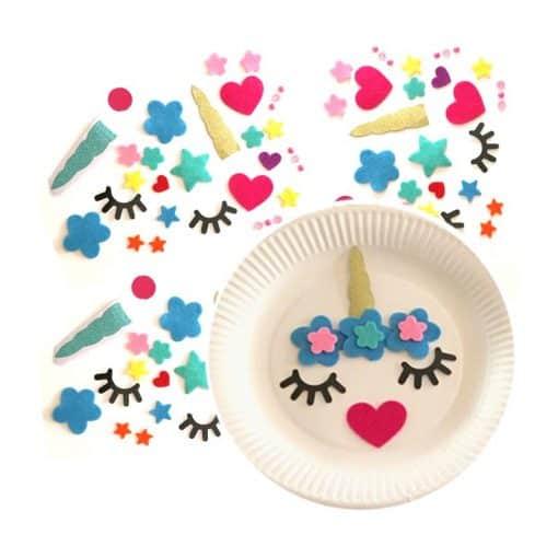 Eenhoorn stickers met bordjes, activiteit kinderfeestje