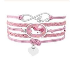Eenhoorn wikkel armband roze