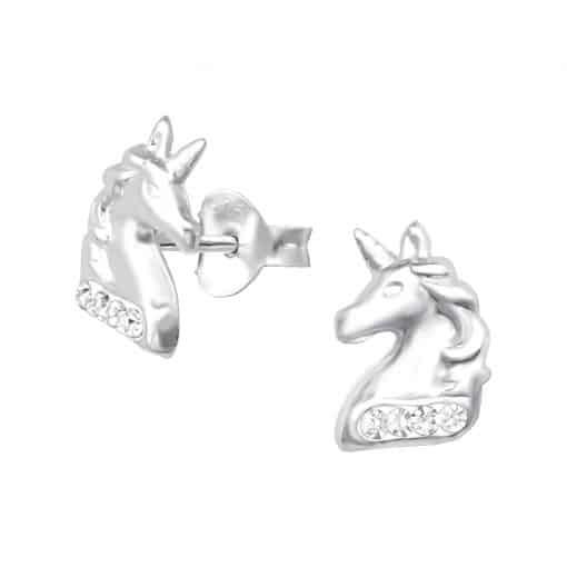 Eenhoorn / paard zilver oorstekers met steentjes
