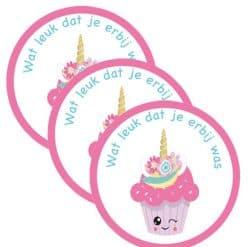 Eenhoorn bedank stickers voor traktatie zakjes
