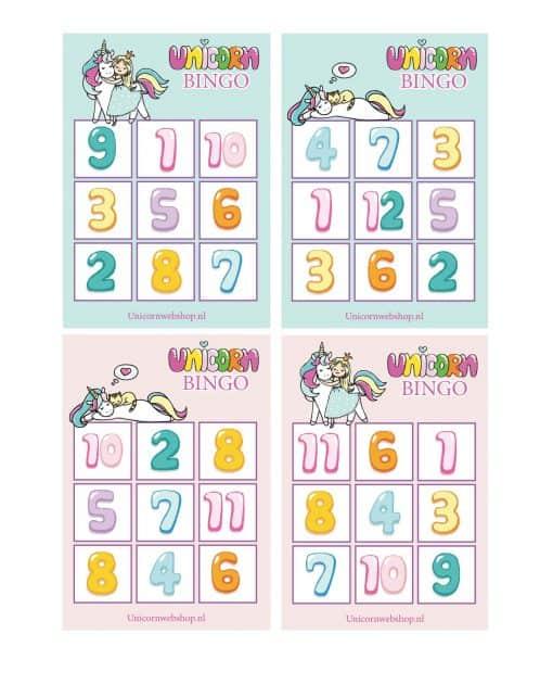 Eenhoorn educatief spel bingo