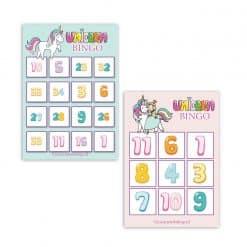 Eenhoorn bingo spelende de cijfers leren