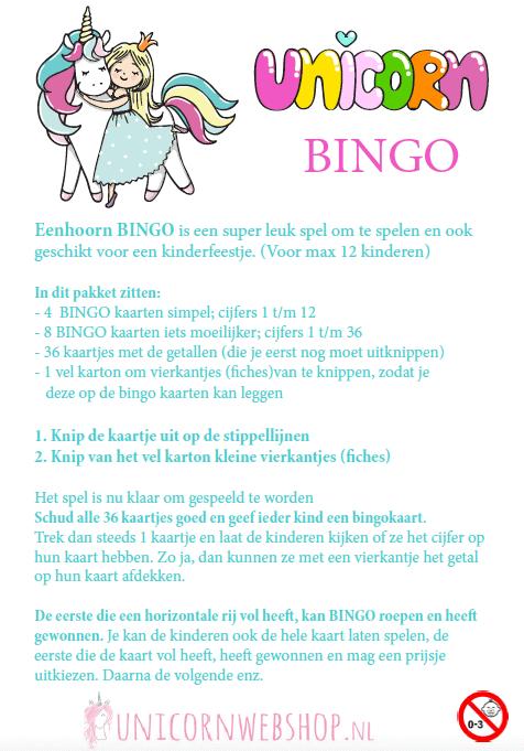 EEnhoorn bingo spel, spelend de cijfers leren