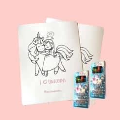 Eenhoorn kleurplaat 6x met 6 doosjes waskrijt