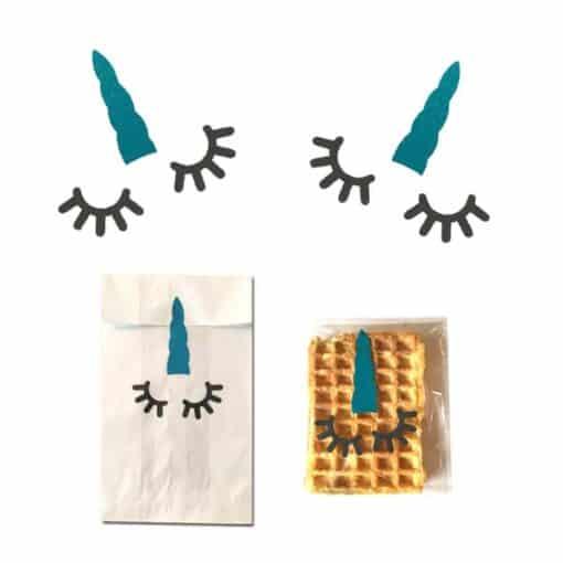 Eenhoorn stickers traktatie op school turquoise