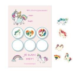 Eenhoorn beloningskaart voor kinderen met stickers