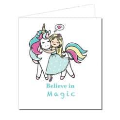 Eenhoorn verjaardagskaart, believe in magic