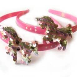Eenhooorn met pailletten roze diadeem voor kinderen