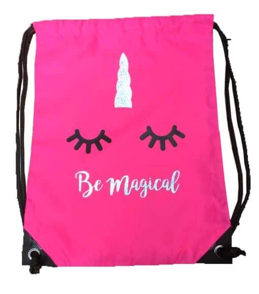 Eenhoorn trekkoord tas roze met glitters