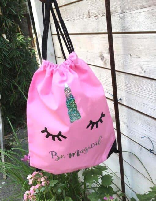 Eenhoorn trekkoord tas licht roze